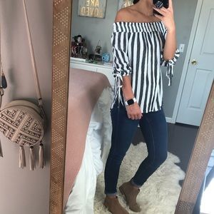 Maitai Striped Off The Shoulder Top